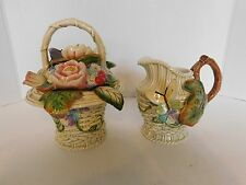 Fitz & Floyd Old World Rabbits Easter Bunny Basket Sugar & Creamer w/ Spoon Rare
