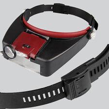 Profi 10X LED Kopflupe Lupe Stirnlupe Lupenbrille Stirnband Vergrößerung Rot