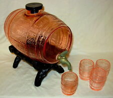 Cambridge Keg Barrel in LaRosa/Pink with 4 Glass Bar Tumblers and Stand