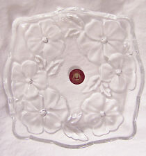 Waltherglas-Clear & Frosted 3-D Flower Glass Dish Made in Germany
