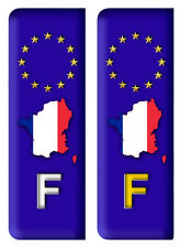 2 Stickers Plaque D'immatriculation Autocollants France Drapeau Voiture Auto Q6
