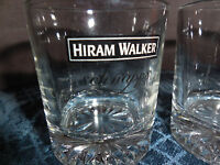 "HIRAM WALKER ""SCHNAPPS"" CLEAR GLASS  SHOT GLASSES SET OF 2 EUC"
