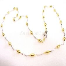 Women Girl 14K Multi Gold White Yellow Plated Olive Choker Necklace Chain Olive