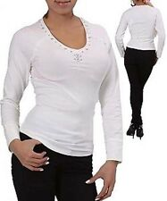 L3XEW SEXY Women's TOP Off White Ivory Blouse Shirt Beaded Cotton PLUS SIZE 1 XL