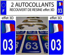2 stickers plaque immatriculation auto DOMING 3D RESINE FRANCE FLOTANT DEPA 03