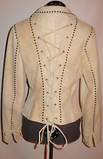 DOUBLE D RANCH Cream Leather Jacket Studded Corset (S)