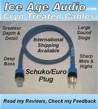 5ft-10 Gauge Cryo Treated Schuko EU Power Cord, Cable, Audiophile, IEC, Silver