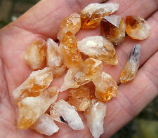 30 grams CITRINE SMALL / TINY ROUGH RAW PART POINTS 14mm - 20mm GIFT BAG ID CARD