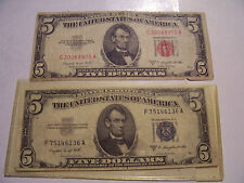 1953 B SILVER CERTIFICATE BLUE AND RED SEAL CROSSOVER FIVE DOLLAR NOTES