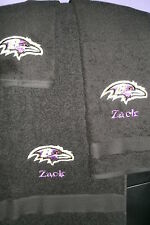 Ravens Football Personalized 3 Piece Bath Towel Set Your Team & Color Choice