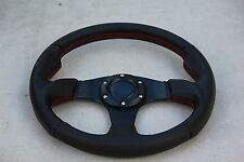 "12.5"" Steering Wheel For Polaris RZR Can-am Maverick Blk/ Black w/Red Stitching"