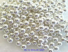 100 Round Smooth Silver Plated Beads 5MM