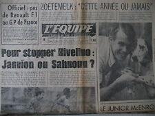 CYCLISME ZOETEMELK FOOT JANVION WIMBLEDON MAC ENROE DENT JOURNAL L'EQUIPE 1977