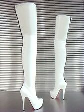 MORI ITALY ZIP OVERKNEE PLATFORM BOOTS STIEFEL STIVALI LEATHER WHITE BIANCO 44