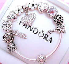 Authentic Pandora Silver Bangle Bracelet With White Crystal Heart European Charm