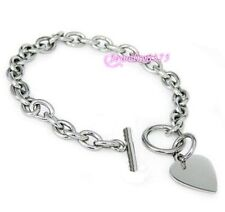 Cute Womens Silver Oval Chain Cute Heart Pendant Stainless Steel Toggle Bracelet