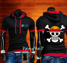 Japan Anime One Piece Luffy Casual Short Sleeve T-Shirt Male Hoodie Tops #WV11