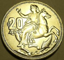 Gem Unc Silver Greece 1960 20 Drachmai~1st Year Ever~Awesome~Free Shipping~