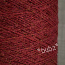 PURE SHETLAND WOOL CRANBERRY RED 500g CONE 10 BALL 3 4 PLY KNITTING WEAVING YARN