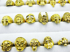 20X OverSize Gothic Skull Carved Biker Mixed Styles lots Men's Gold Rings