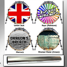 "Custom *CHROME* 22"" Bass Drum Head Decal Skin Wrap Sticker Vinyl Mirror Silver"