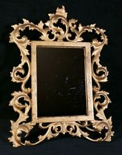 Ornate Antique Cast Iron Standing Frame w Mirror & Gold Finish 12x9 Inch V Good