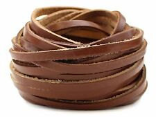 "10 Yards - 1/4"" Genuine Leather Strapping - Brown - 5-6oz - 6mm Flat Cord - Bulk"