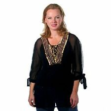 QVC AMARJE ELBOW LENGTH TIE SLEEVE BLOUSE WITH WOODEN BEADING SMALL BNWT