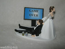 Wedding Reception Party Cake Topper ~(2) Beer Cans~ Game Over Sign Drunk Groom