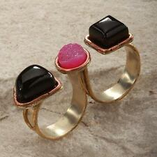 New Tara Mesa Onyx & Pink Drusy Quartz Double Finger Ring ~  Adjustable
