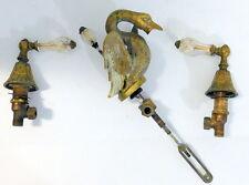 Vintage Solid Brass Swan Bathroom Sink H&C Faucet Fixtures