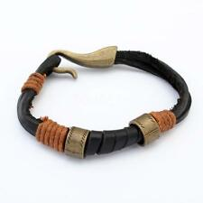 Women Men Cowhide Leather Handmade Rope Wristband Anchor Bangle Bracelet NEW