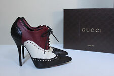 New sz 8 / 38 Gucci Color Block Leather Ankle Lace up Pointed Toe Bootie Shoes