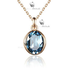 18k rose gold gf genuine blue SWAROVSKI crystal pendant necklace