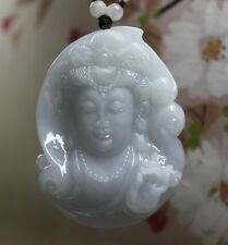 Certified Natural A Perfect RARE Lavender Jadeite JADE Carved Kwan-yin Pendant