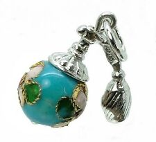 ARGENTO Sterling CLOISONNE Turchese NEBULIZZATORE Charm