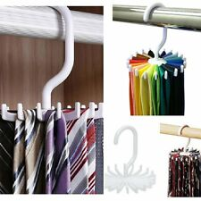 20 Hooks Rotating Belt Rack Men Neck Tie Women Scarves Adjustable Organizer