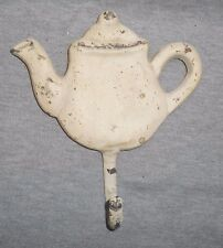 TEAPOT HOOK HANGER Painted Antique White CAST IRON Wall Mount Clothes, Hat, Coat