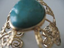 bracelet yellow gold scrolled metal turquoise stone wide cuff MS Accessories 7'