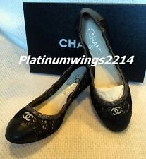 NIB Authentic Chanel Metallic Black Lace Leather leather ballet flats size 37.5