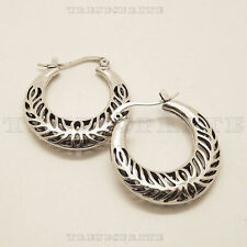 Retro Vintage Silver Hollow Leaf Hoop Earrings For Women Lady Unique Design