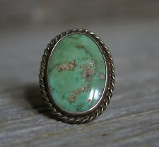 Large Old Pawn Vintage Native Navajo Turquoise Sterling Silver Ring sz 9.5