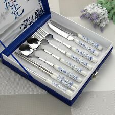 Chinese Blue and White Porcelain Tableware Sets. Fork+Spoon+Chopsticks+knife