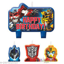 TRANSFORMERS MINI CANDLE SET (4pc) ~ Birthday Party Supplies Cup Cake Decoration