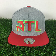 Mitchell and Ness Atlanta Hawks Gray Red Adjustable Fit Wool Snapback Cap Hat