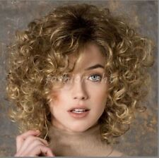 Fashion Women's Short Brown Blonde Mixed Curly Wave Full Wigs Cosplay Wigs+Cap