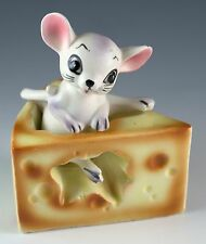 Vintage Lefton Ceramic Mouse In Cheese Salt & Pepper Shakers Made In Japan