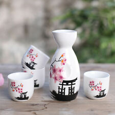 5 Pcs Japanese Sake Set Cups Pink Flower Porcelain Peach Blossoms Ceramic Crafts