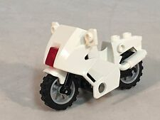 LEGO Motorcycle White Touring Bike with Translucent Red Light & Kick Stand