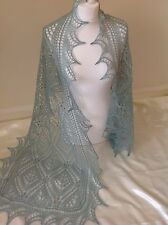 LAMBSWOOL/ANGORA BLEND HANDKNITTED COBWEB LACE SHAWL/SKARF Duck Egg Green